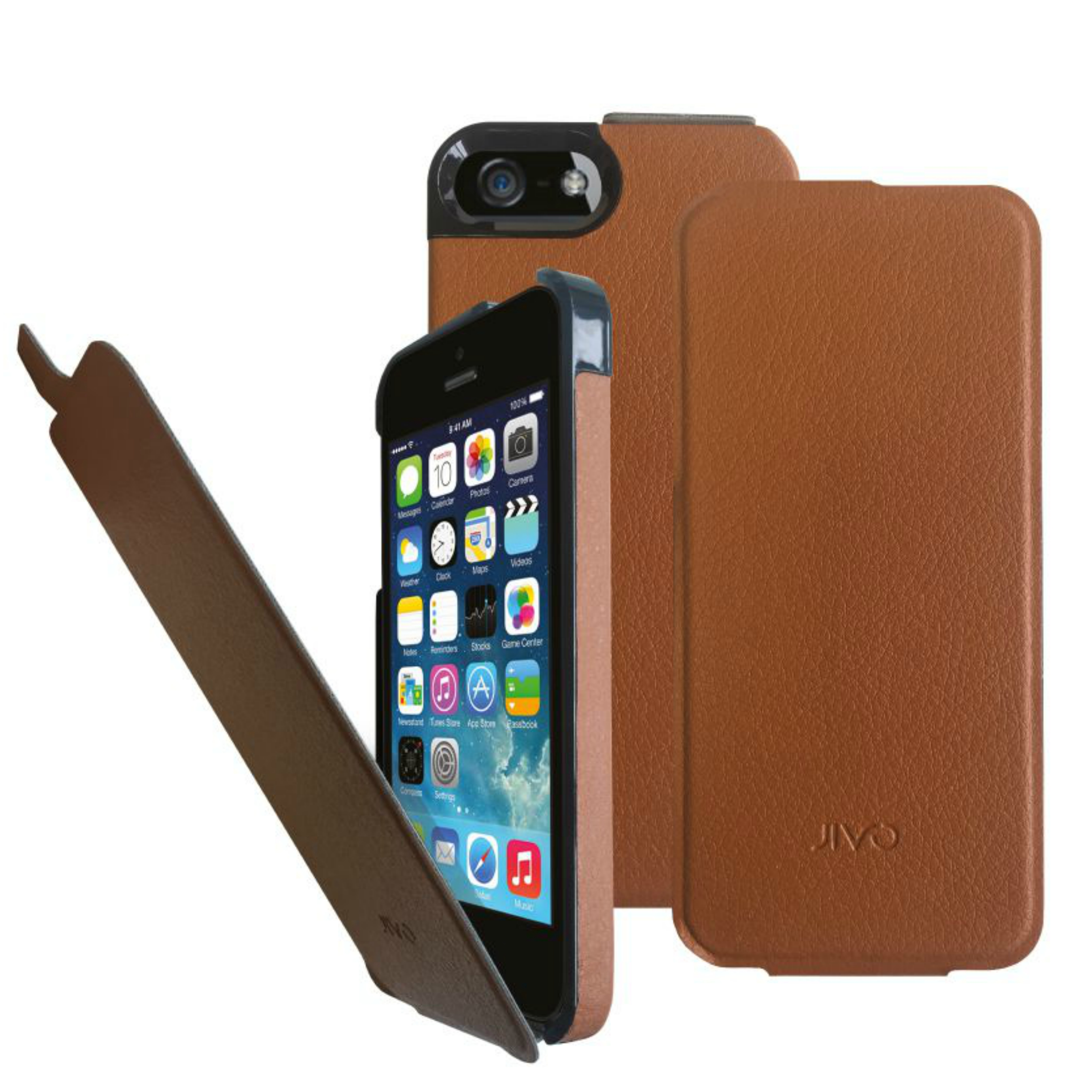 Jivo Flip Folio Protective Case Cover|Synthetic Leather|Lightweight|iPhone 5/5s|
