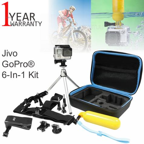 Jivo GoGear 6-in-1 Mount Kit|For GoPro & Action Cameras|360° Head Mount|JI-1908 Thumbnail 1