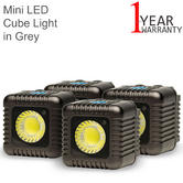 Lume Cube Mini Portable LED Action Light (Pack of 4) | Bluetooth Controlled | Grey