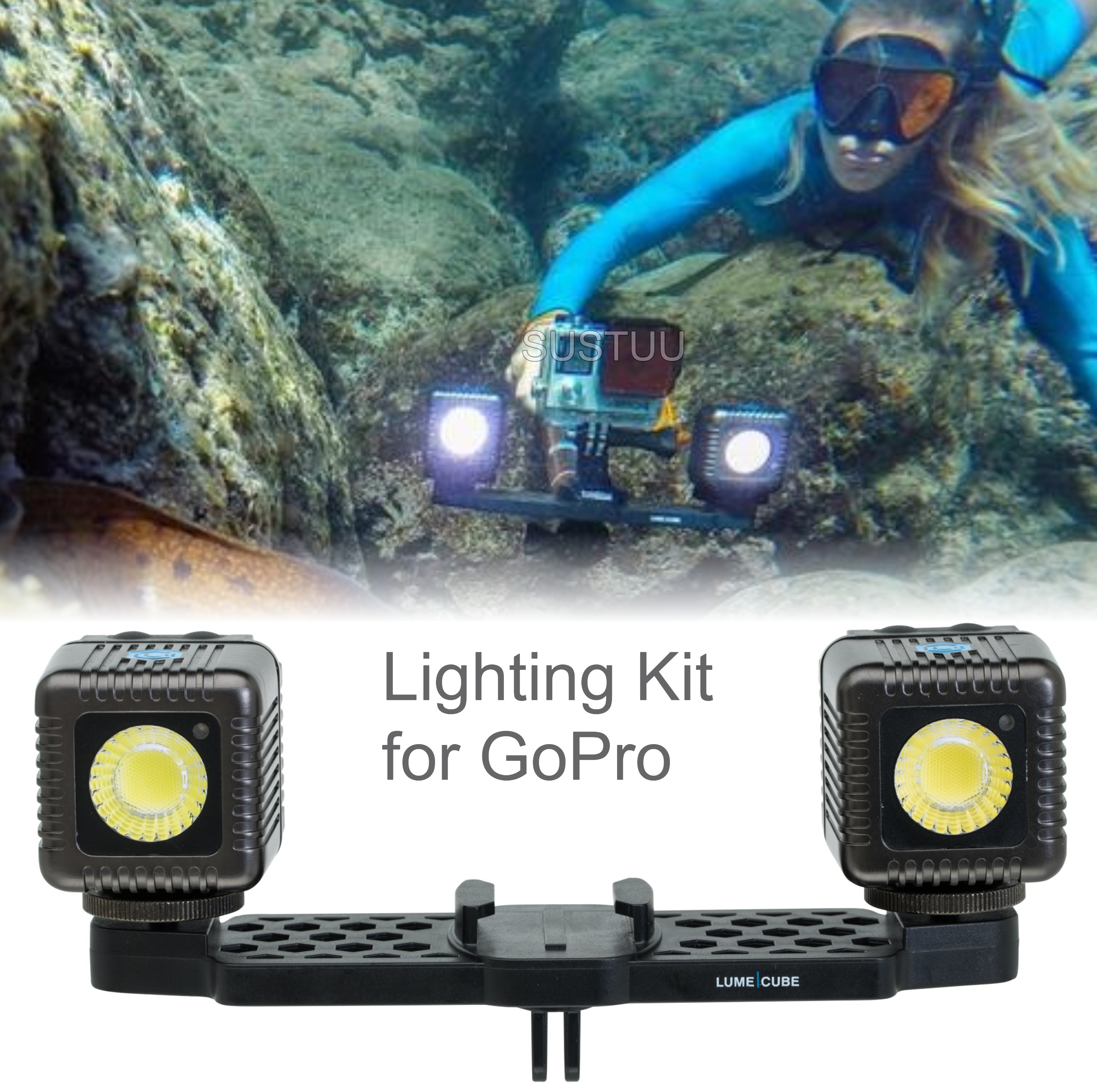 Lume Cube Lighting Kit for GoPro | Bluetooth Controlled | 1500 Lumens | Gunmetal Grey