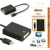 Techlink iWires Mini Display Port to DVI Adapter/ Cable | 0.2m Black Cable | For Video Tranfer