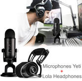 Blue Blackout Yeti USB Microphones + Lola Ninjas Headphones | Pro Gamer Bundle | NEW