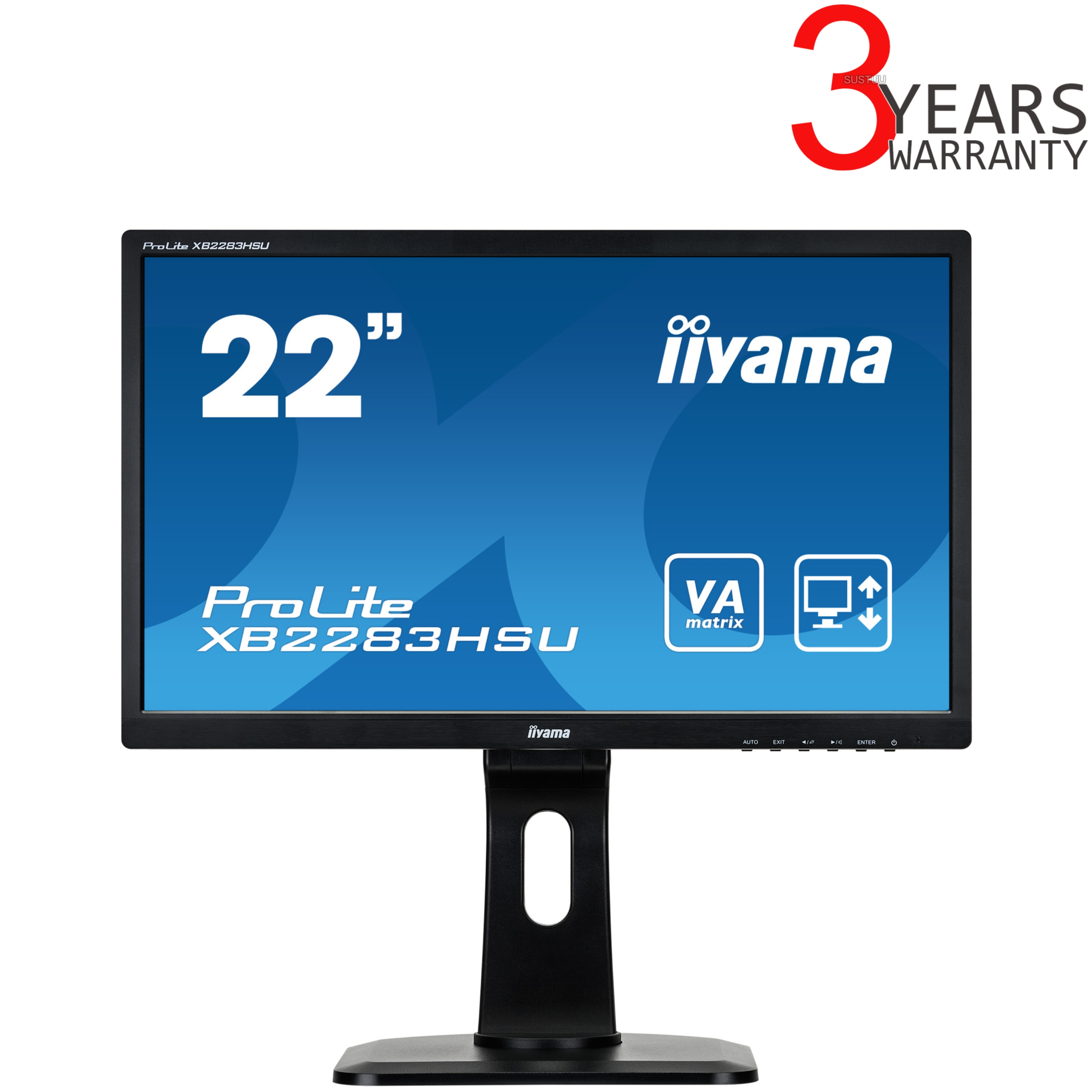"iiyama XB2283HSU-B1DP 22"" ProLite VA HD H/A LED Computer Monitor Screen - Black"