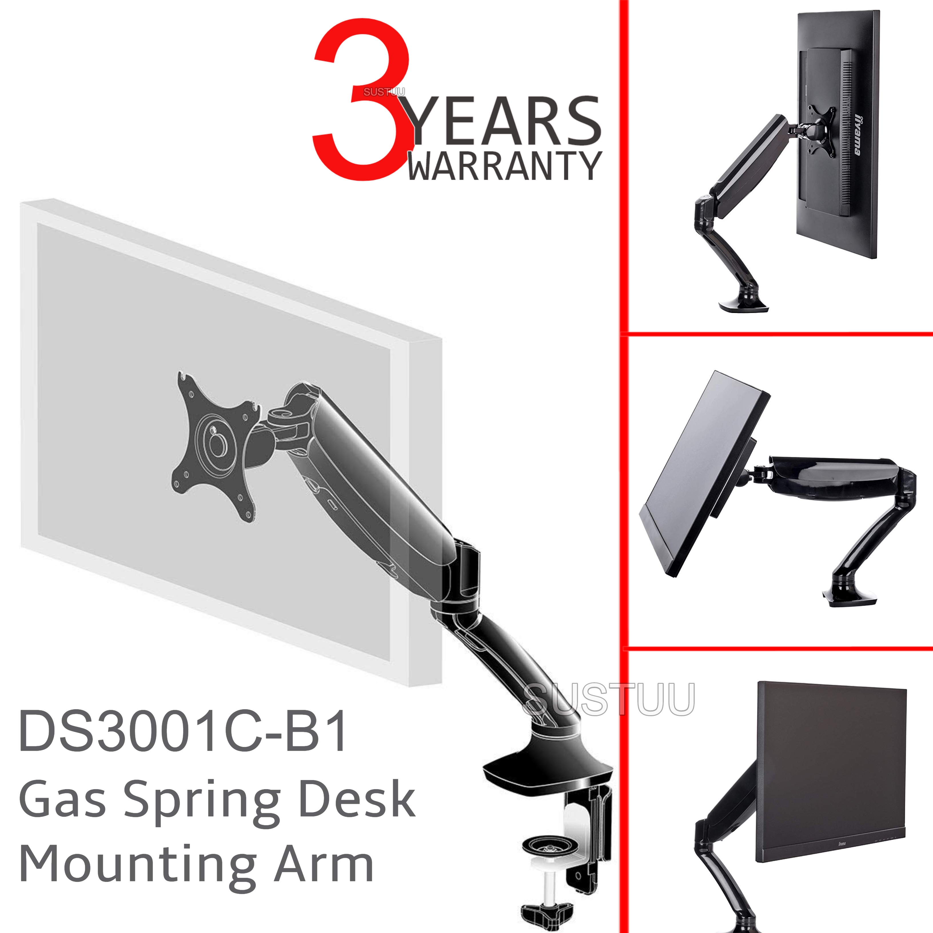 iiyama DS3001C-B1 Gas Spring Mounting Arm|Desk Clamp|Stable Screen Stand|Black|