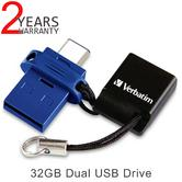 Verbatim 49967 64GB Dual USB Drive|USB-C Type|USB 3.0|USB to C-Type Phone/Tablet