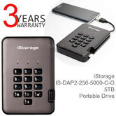 iStorage DiskAshur Pro2 Portable Secure Hard Drive | 5 TB | Encrypted | USB 3.1 | For PC-Mac-Android