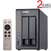 QNAP 2 Bay Desktop NAS Unit | 12TB WD RED PRO Hard Drives | Storage Device with 2GB RAM