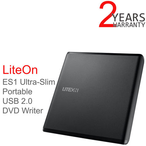 LiteOn ES1 External DVD Writer|Optical Drive|Ultra-Slim|Portable|USB 2.0|Black| Thumbnail 1