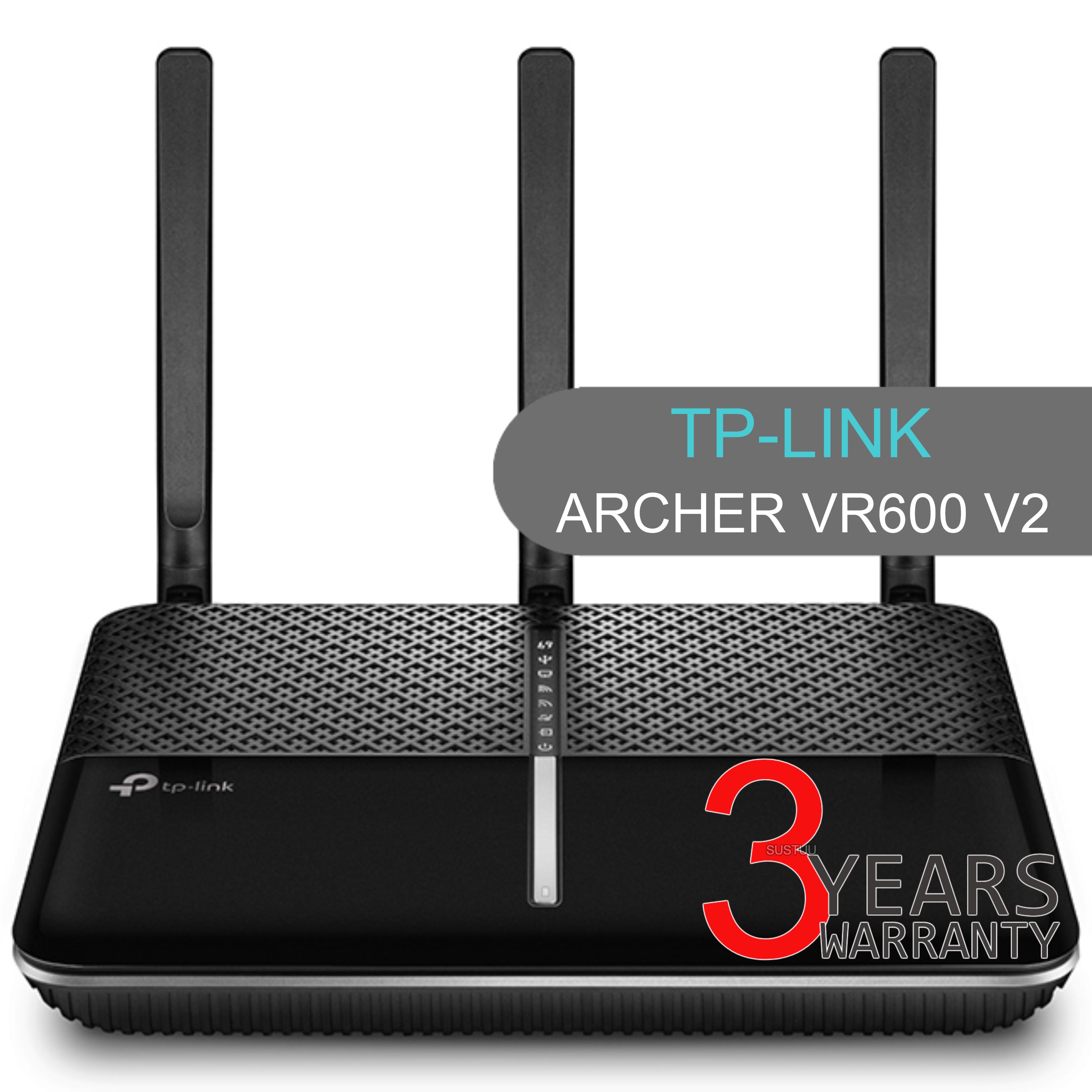 TP-Link ARCHER VR600 V2|AC1600 Wireless Gigabit VDSL/ADSL Modem Router|1.6Gbps Wi-Fi