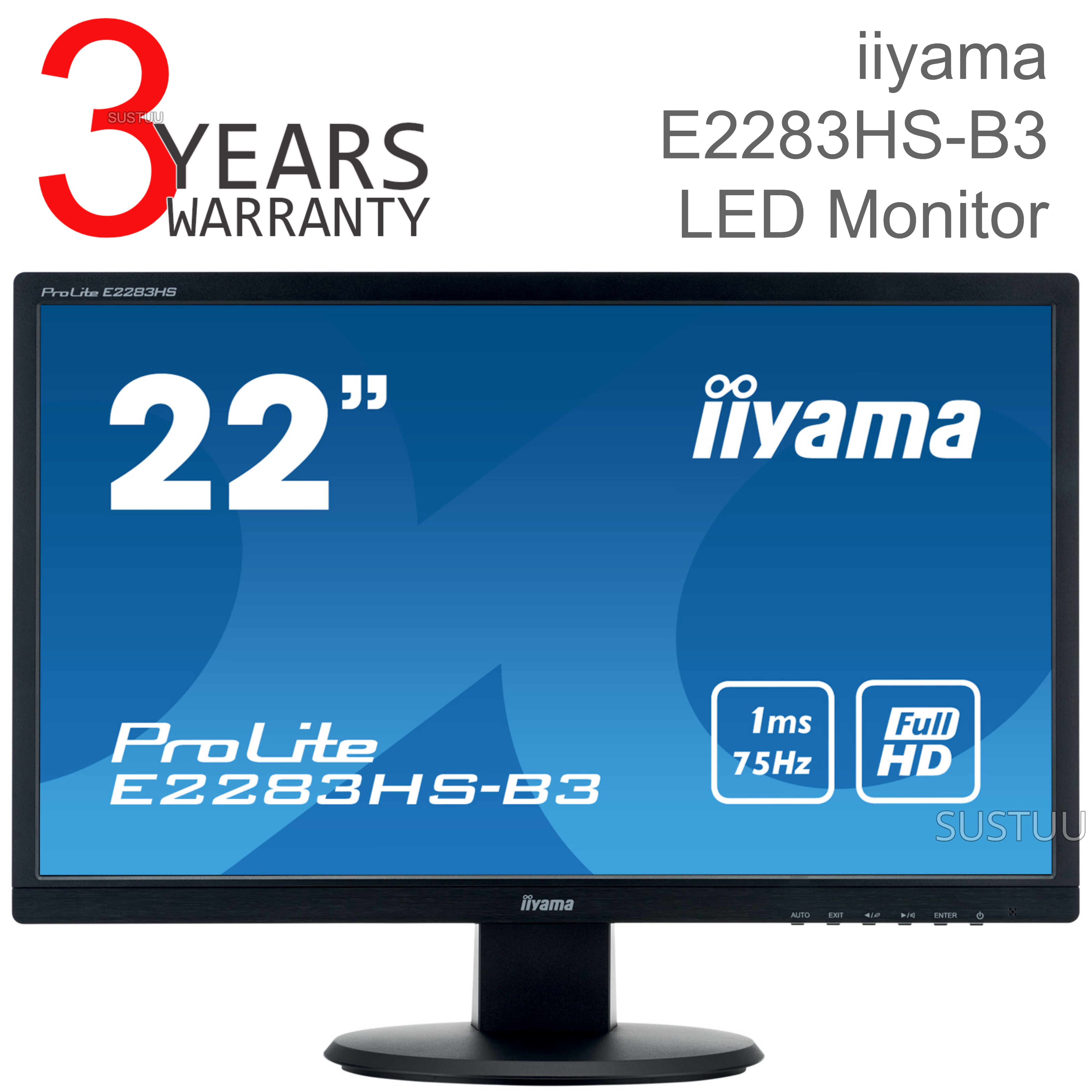 Iiyama ProLite LED Monitor | 22'' Full HD 1080p Display Screen | For Mac Computer | Black