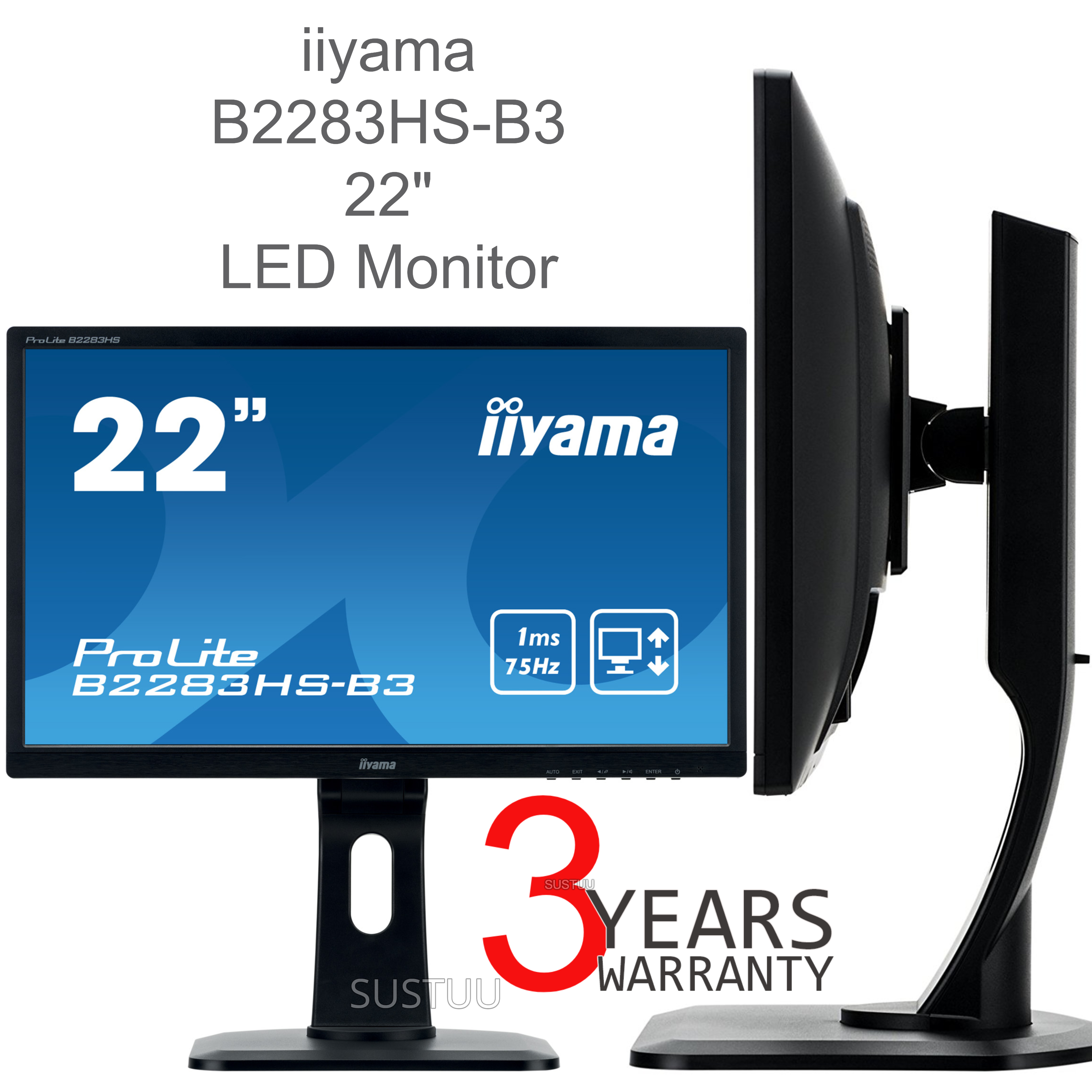 Iiyama ProLite LED Monitor | 22'' Full HD Display | Height Adjustable | For Mac Computers