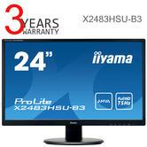 Iiyama ProLite LED Computer Monitor + USB | 24'' Full HD Display Screen | AMVA Panel