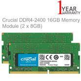 Crucial 16GB Memory Kit (8GB x 2) (DDR4 | 2400 MT/s | PC4-19200 | SR x8 | SODIMM | 260-Pin)