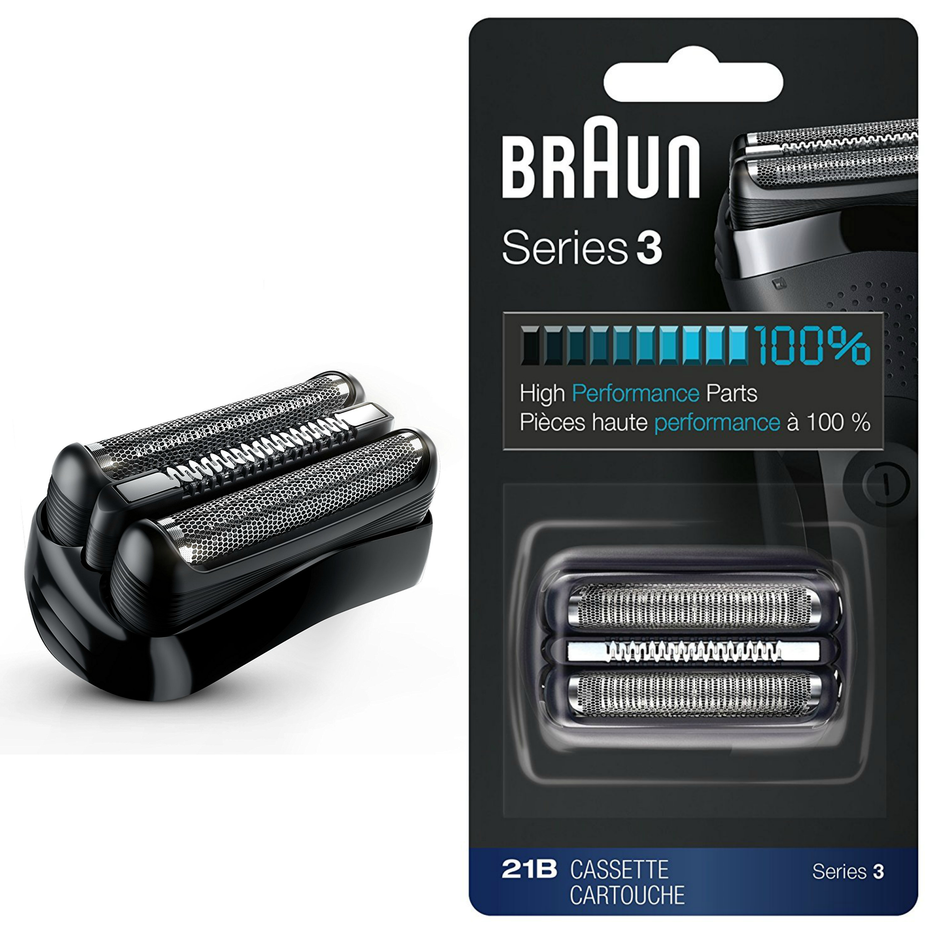 Braun 21B Series 3 Electric Shaver Replacement Foil and Cassette Cartridge - Blk