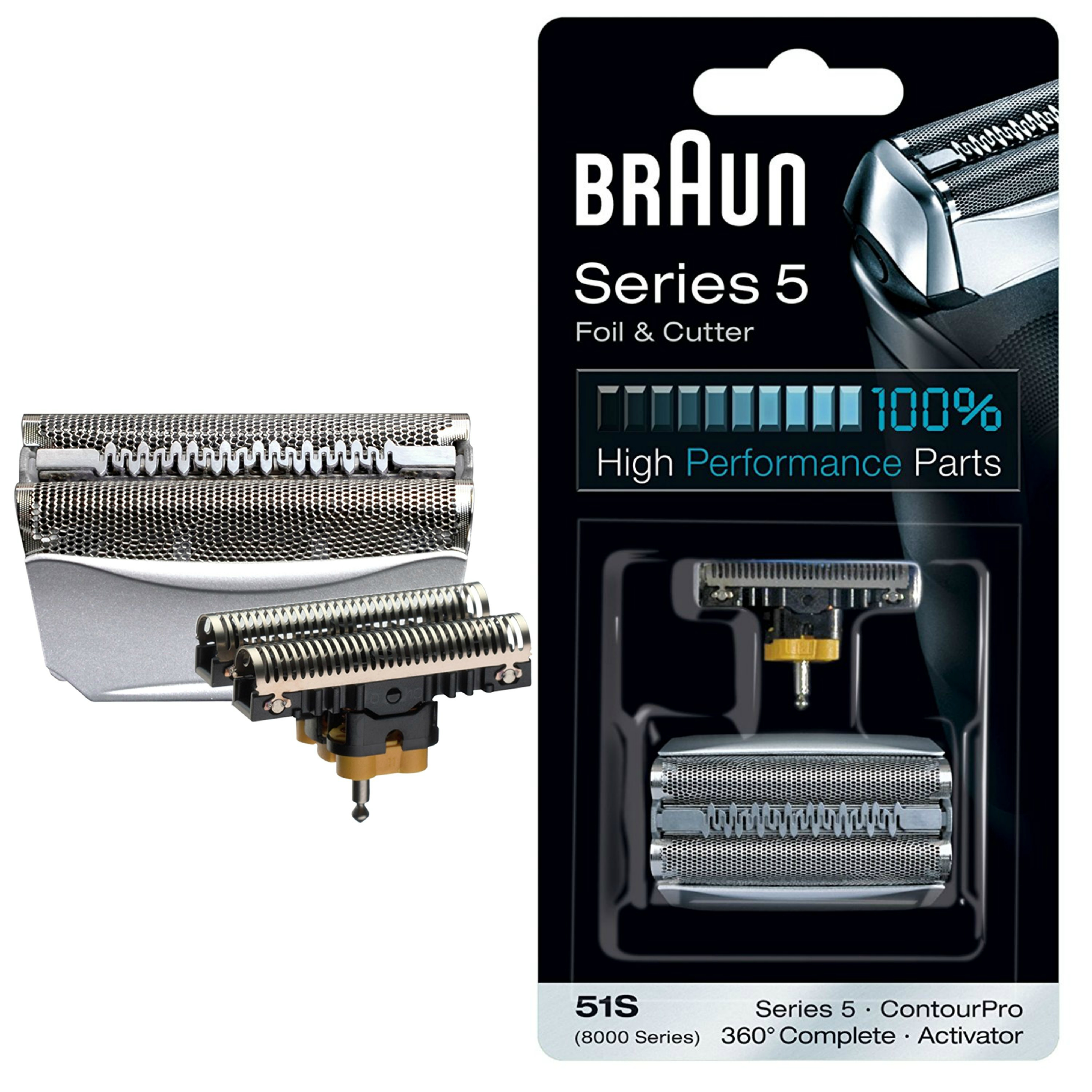 Braun 51S Shaver Foil & Cutter - 8000 Series ContourPro 360°Complete & Activator