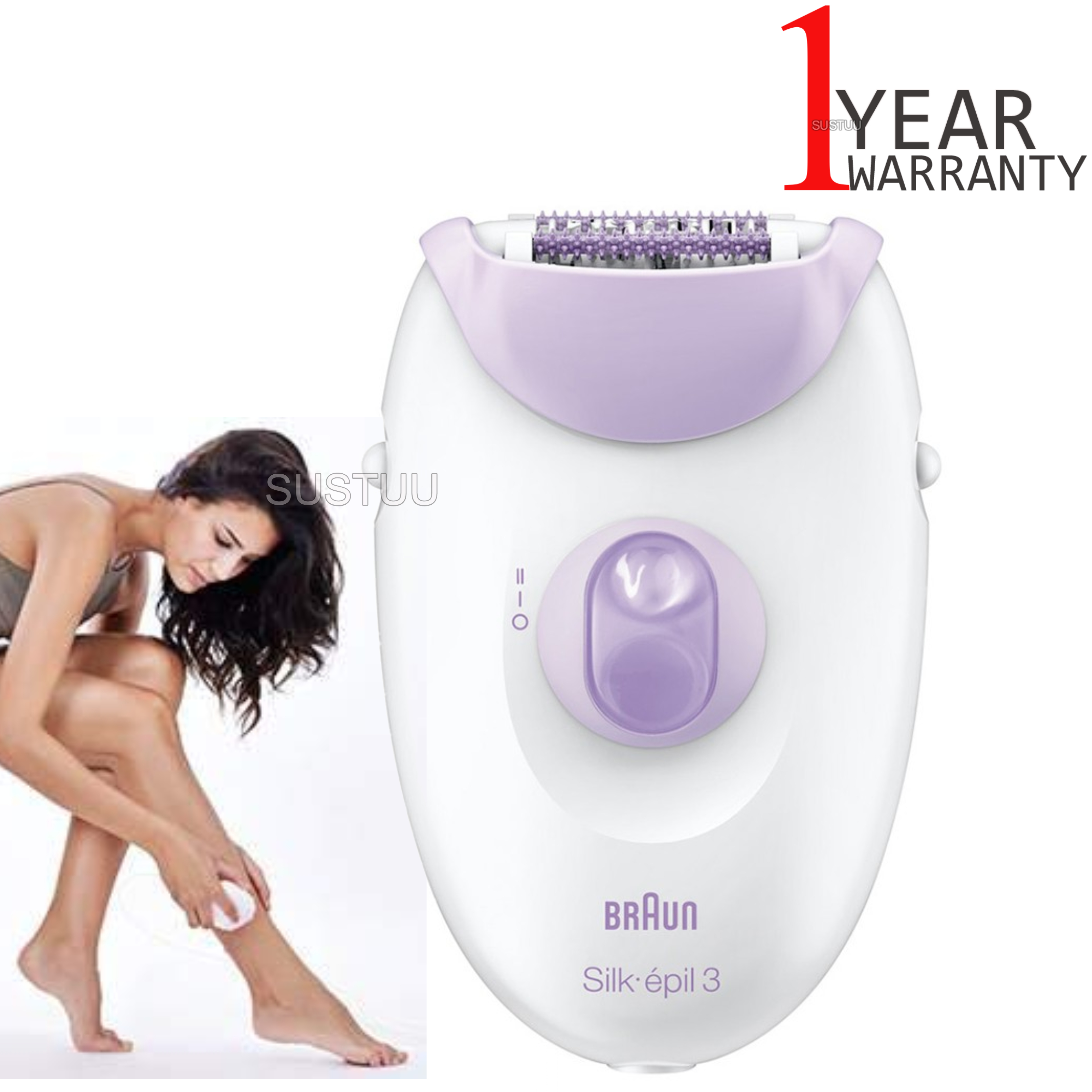 Braun Silk-épil 3 3170 Leg Epilator|Women|Gentle 20 Tweezer Hair Removal Device|