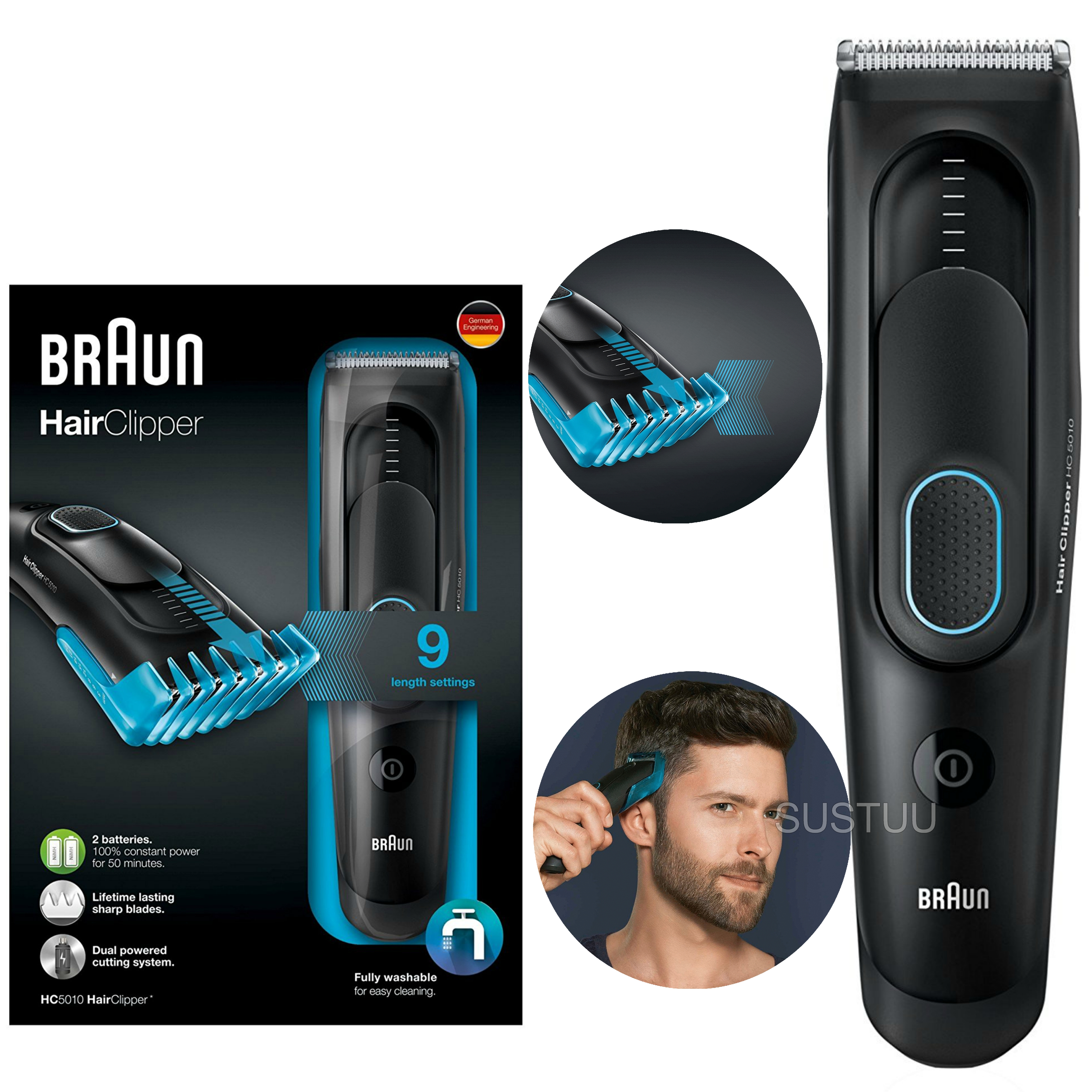 Braun Cordless Hair Clipper/Treamer | Washable & Rechargeable | 9 Length Settings | HC5010