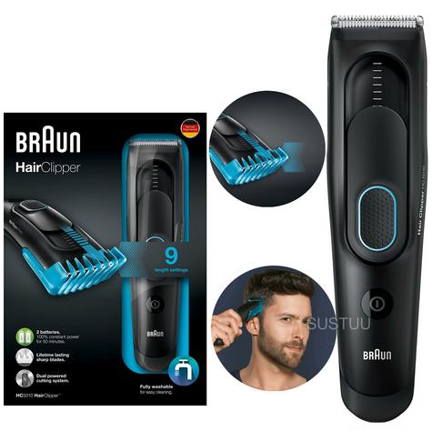 Braun Cordless Hair Clipper/Treamer | Washable & Rechargeable | 9 Length Settings | HC5010 Thumbnail 1