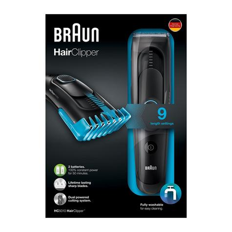 Braun Cordless Hair Clipper/Treamer | Washable & Rechargeable | 9 Length Settings | HC5010 Thumbnail 7
