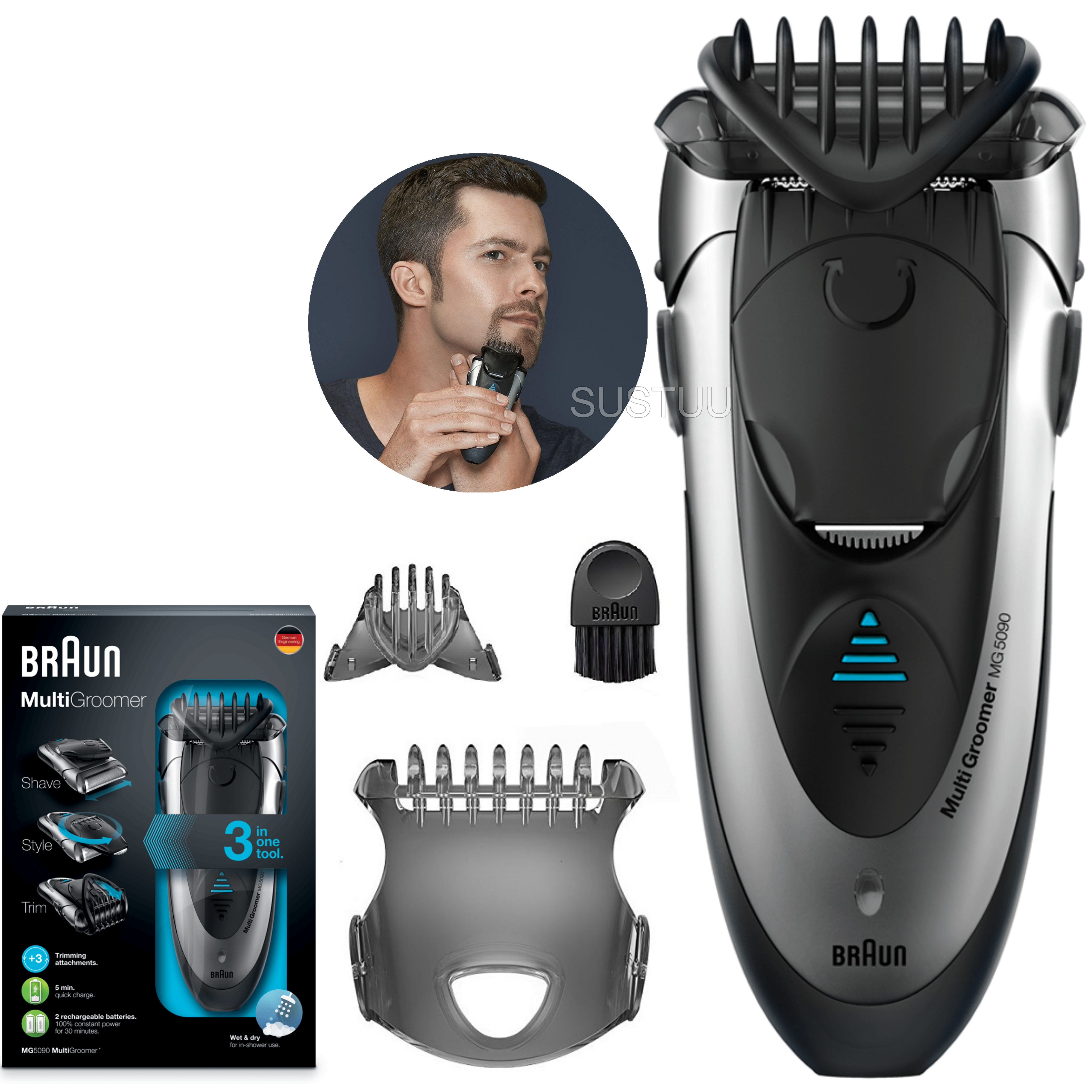 Braun Men's Multi Groomer | Shaver Styler & Beard Trimmer | Wet & Dry | 3 in 1 | MG5090