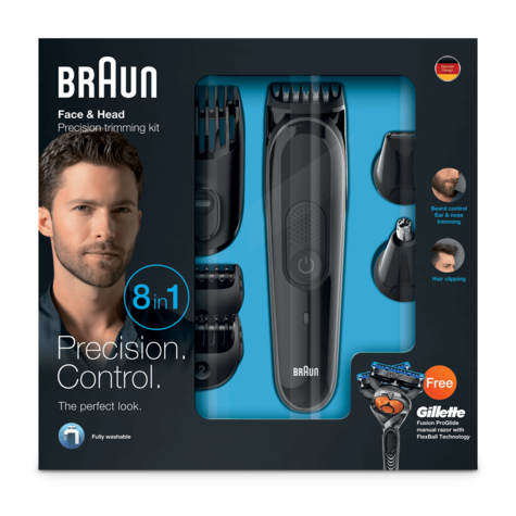 Braun Multi Groom Face & Head Kit | Beard & Hair Precision Trimming | 8 in 1 | MGK3060 Thumbnail 3