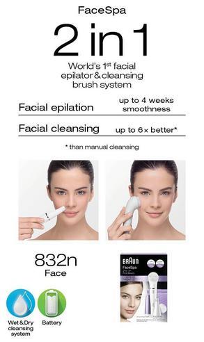 Braun FaceSpa Mini Facial Epilator & Cleansing Brush | Removes Finest Hair | SE832 Thumbnail 6