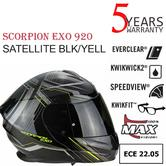 Scorpion Exo 920 Satellite Flip-Front Motorcycle Helmet|ECE 22-05|Unisex|Black/Yellow