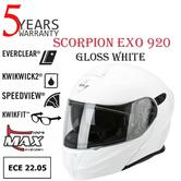 Scorpion Exo 920 Gloss White Unisex Helmet|Antifog-Flip Front|ECE 22-05 Approved