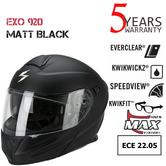 Scorpion Exo 920 Matt Black Helmet|Antifog-Flip Front|ECE 22-05 Approved|Unisex