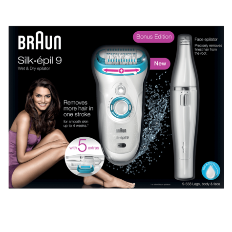 Braun Silk-Epil 9 Women's Cordless Epilator|Facial Hair Remover|Wet & Dry Use| Thumbnail 3