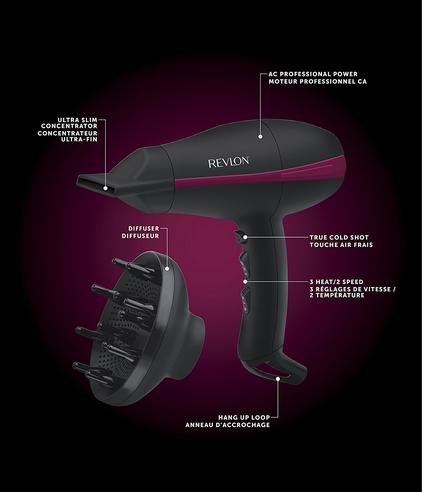 Revlon Tempest Professional Power Hair Dryer+Diffuser | 2000W AC Motor | Black | DR5821 Thumbnail 5