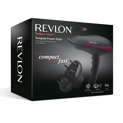 Revlon Tempest Professional Power Hair Dryer+Diffuser | 2000W AC Motor | Black | DR5821 Thumbnail 6