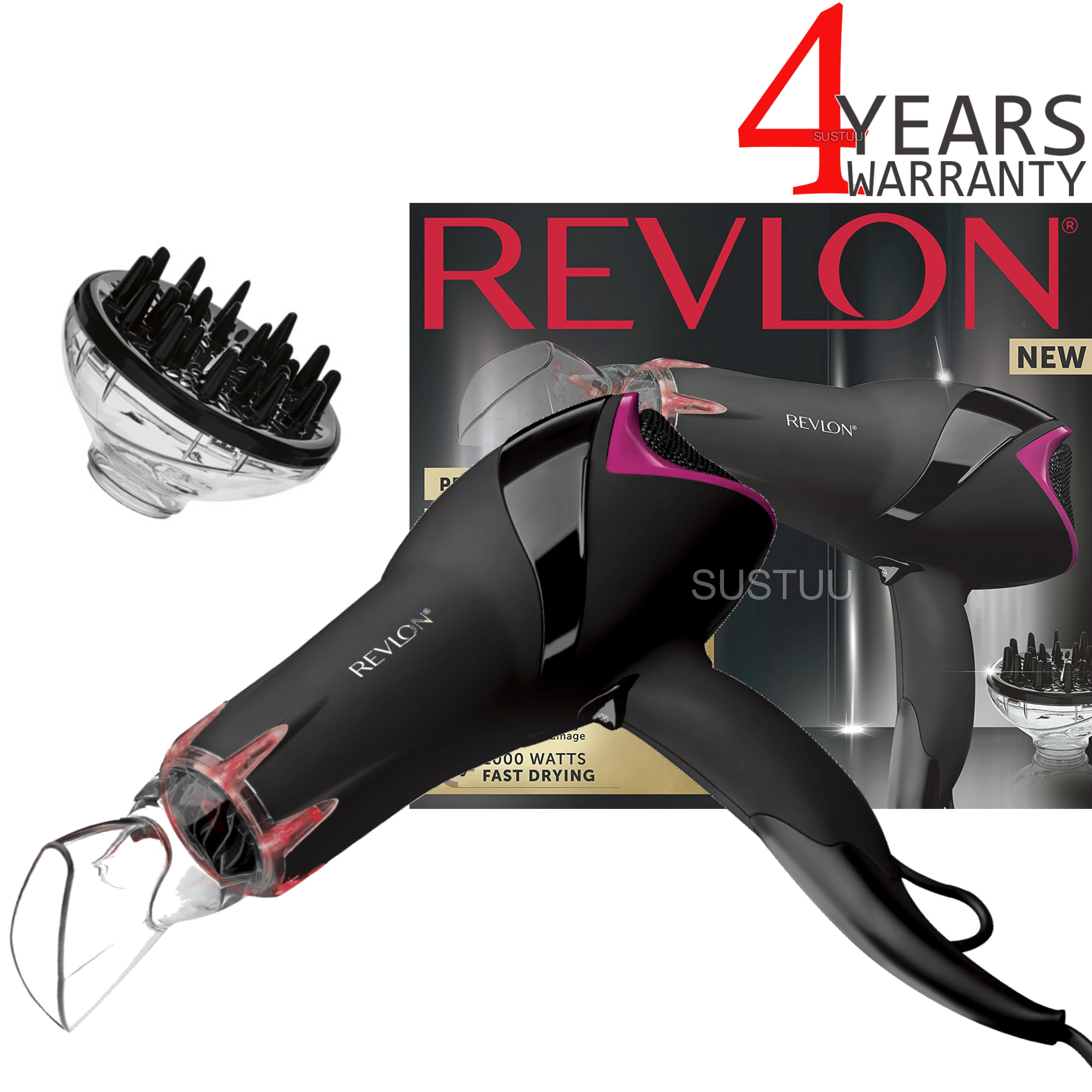 Revlon Pro Collection Salon Infrared Hair Dryer | Volumizing Diffuser | 2000W | DR5105