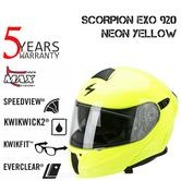 Scorpion Exo 920 Neon Yellow Helmet|Antifog|Open Face|Flip Front|ECE Approved