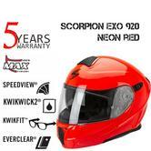 Scorpion Exo 920 Flip Front Motorcycle Unisex Helmet | Open Face | ECE 22-05 | Neon Red