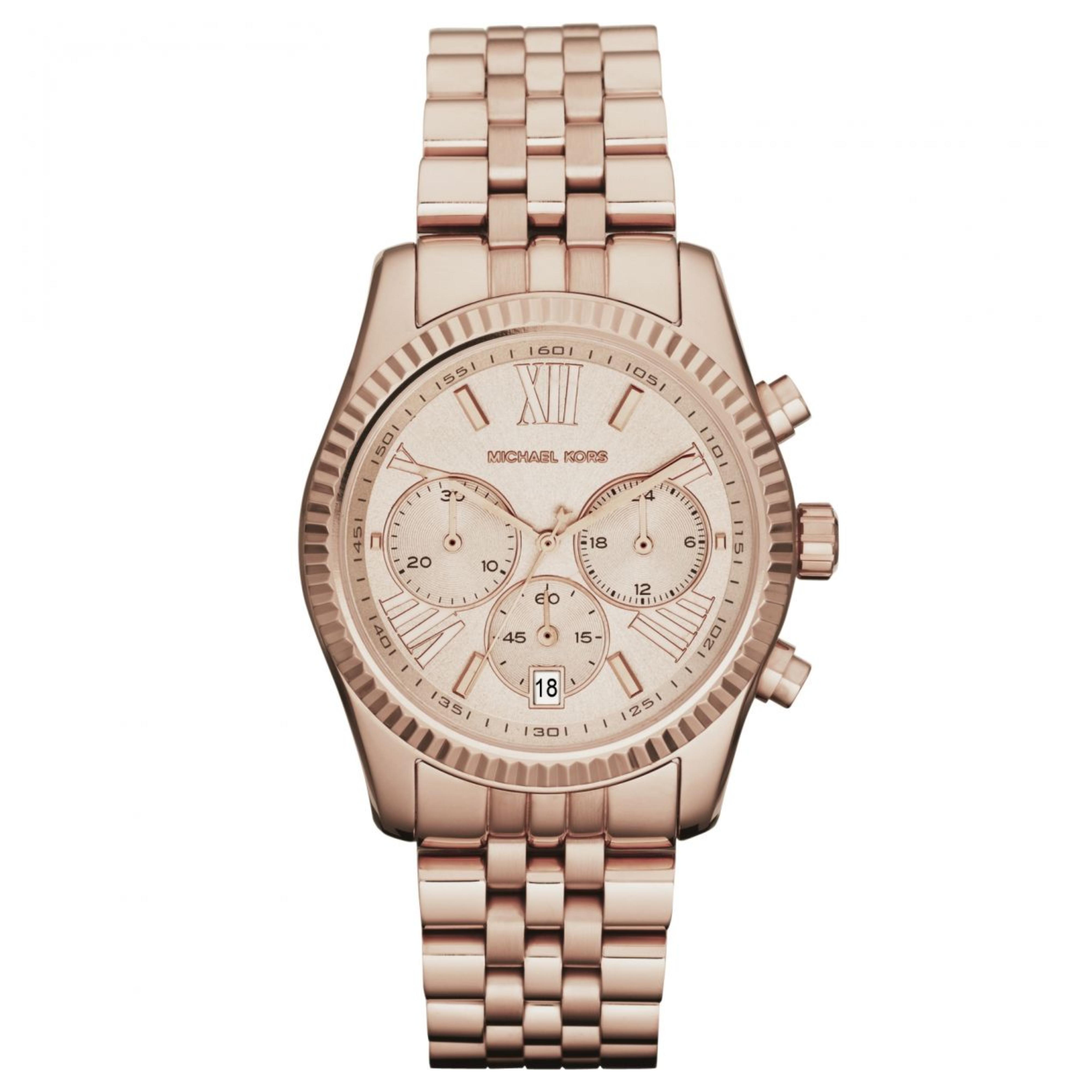Michael Kors Lexington Ladies Watch|Chrono Dial|Rose Gold Designer Strap|MK5569