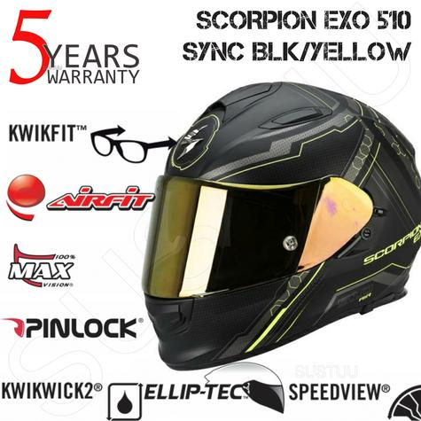 Scorpion Exo 510 Black & Yellow Bike Helmet Full Face Air Sync TUV Tested Unisex Thumbnail 1