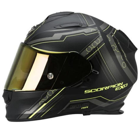 Scorpion Exo 510 Black & Yellow Bike Helmet Full Face Air Sync TUV Tested Unisex Thumbnail 4