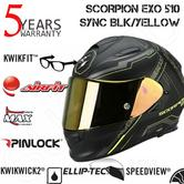 Scorpion Exo 510 Black & Yellow Bike Helmet|Full Face|Air Sync|TUV Tested|Unisex