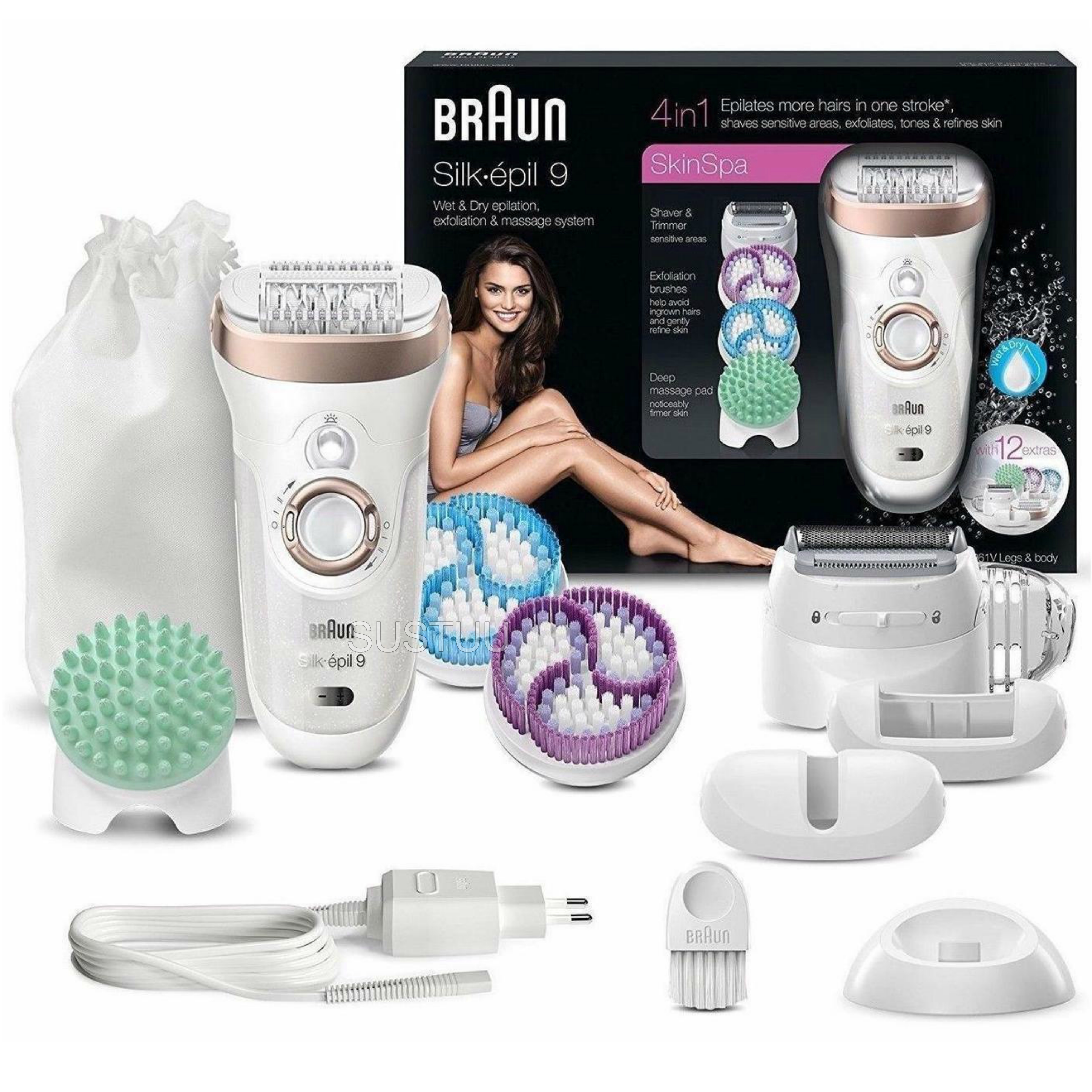 Braun Silk-Epil 9 Skin Spa | Epilation-Exfoliation & Massage System 4 in 1 | SE9961