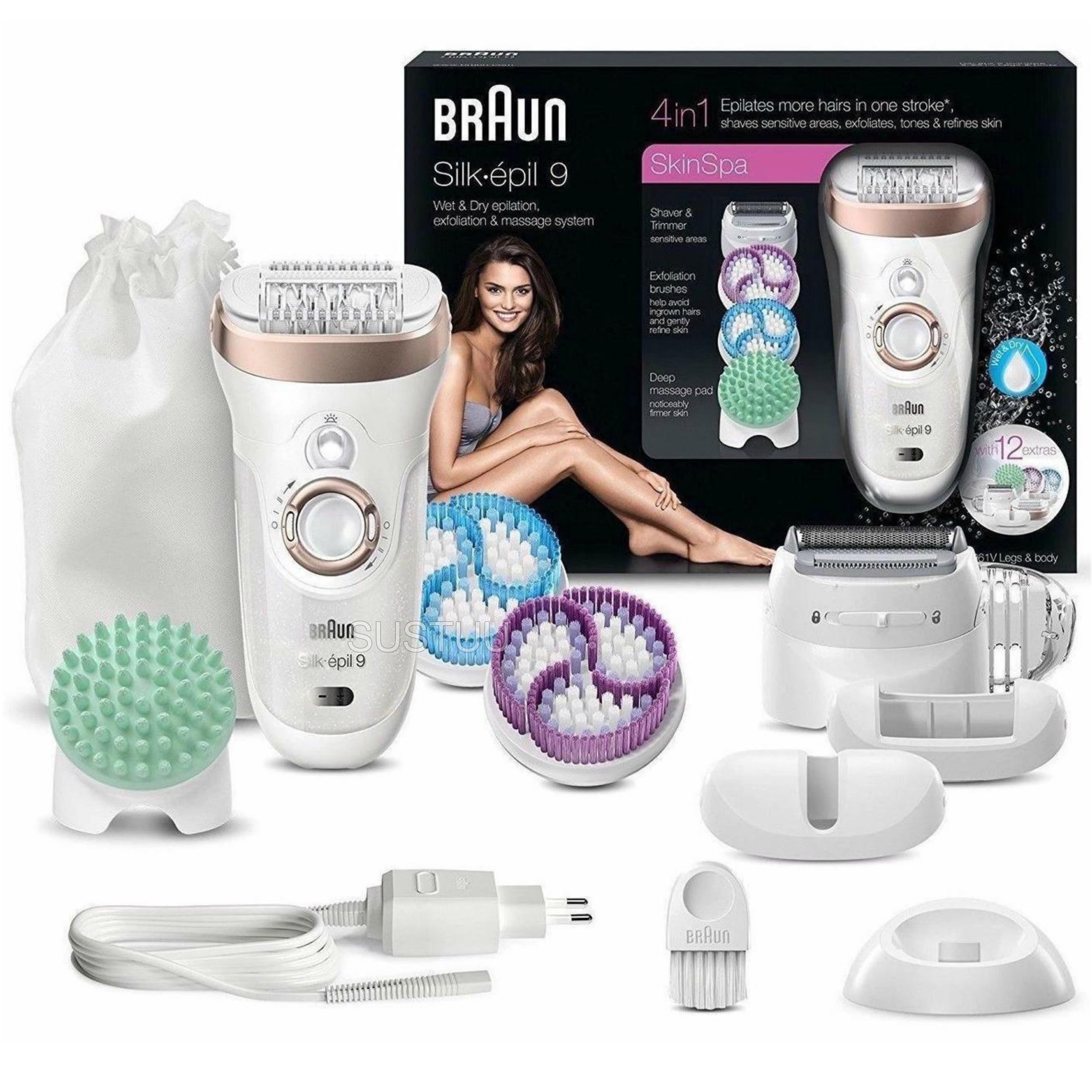 Braun Silk-Epil 9 Skin Spa|Epilation-Exfoliation-Massage-Shaver|4 in 1|Multi Use