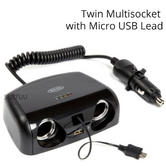 Ring RMS15 Twin Multisocket/Micro USB Charger|Car Cigarette Lighter Socket|12V