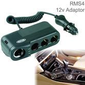 Ring 4Way MultiSocket Adaptor | Car Cigarette Lighter Charger + Battery Analyser | 12V
