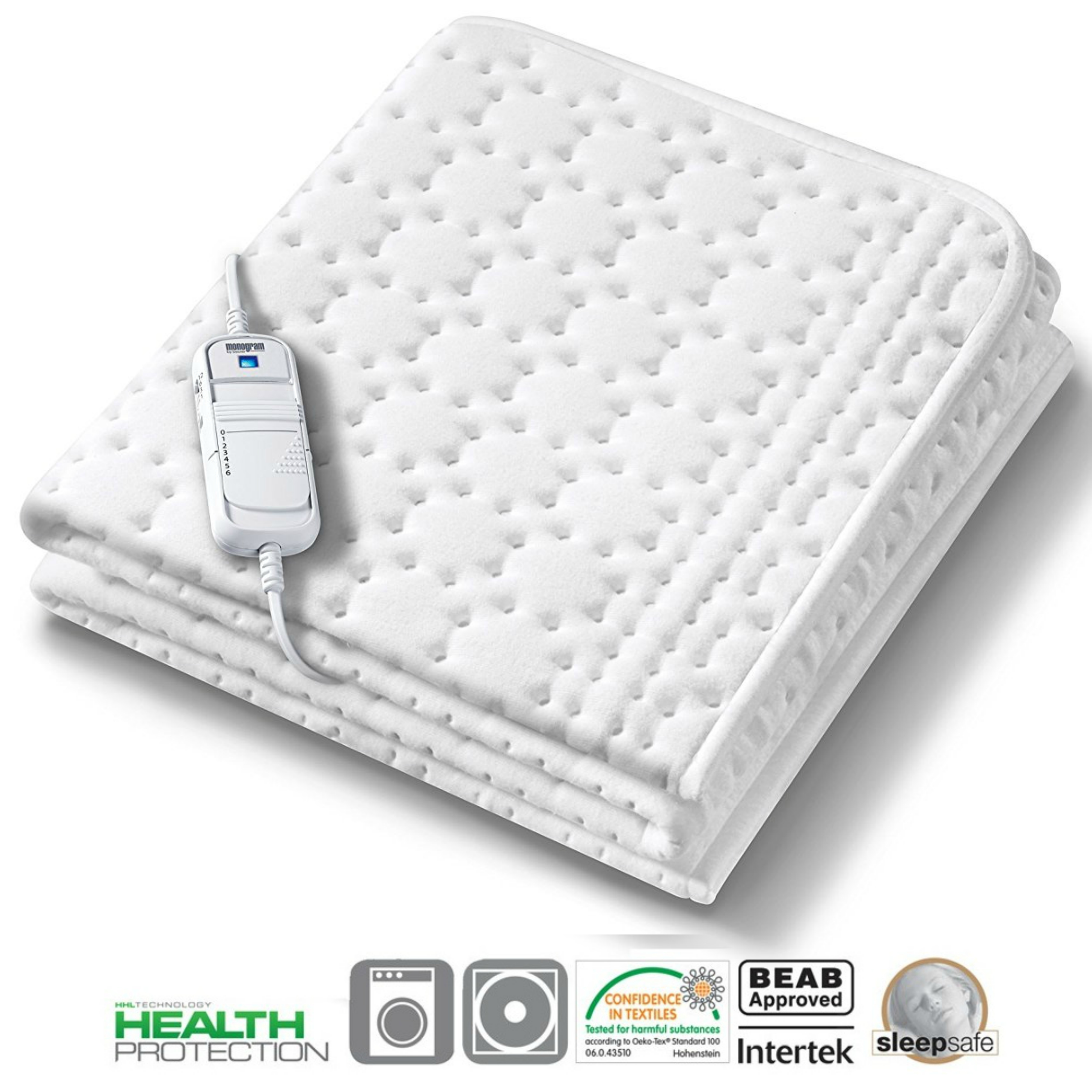 Monogram Allergy-Free Heated Single Mattress Cover (369.60) | HHL Technology | MONAS