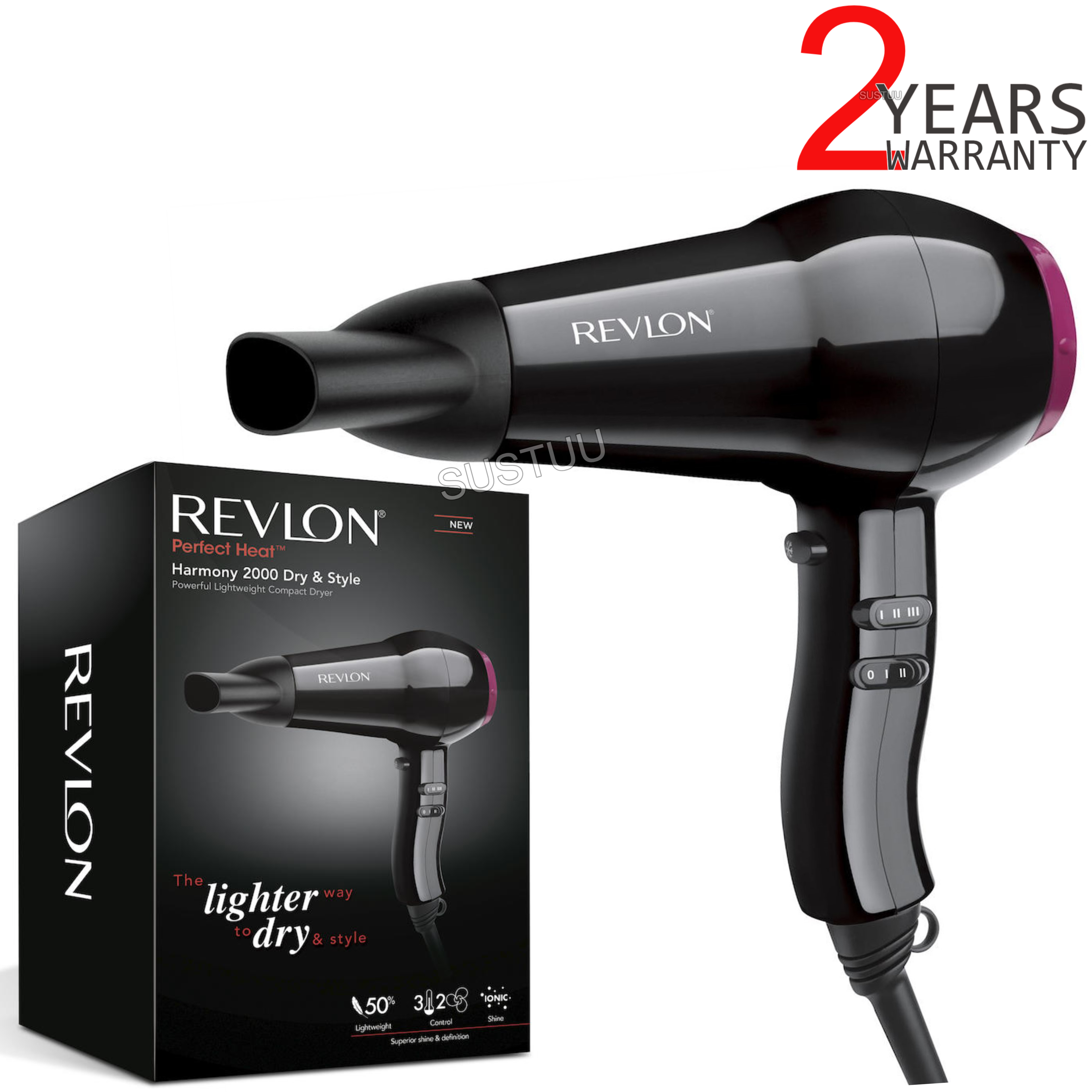 Revlon Perfect Heat Fast & Light Hair Dryer/Blower | Ionic Technology | 2000W | DR5823
