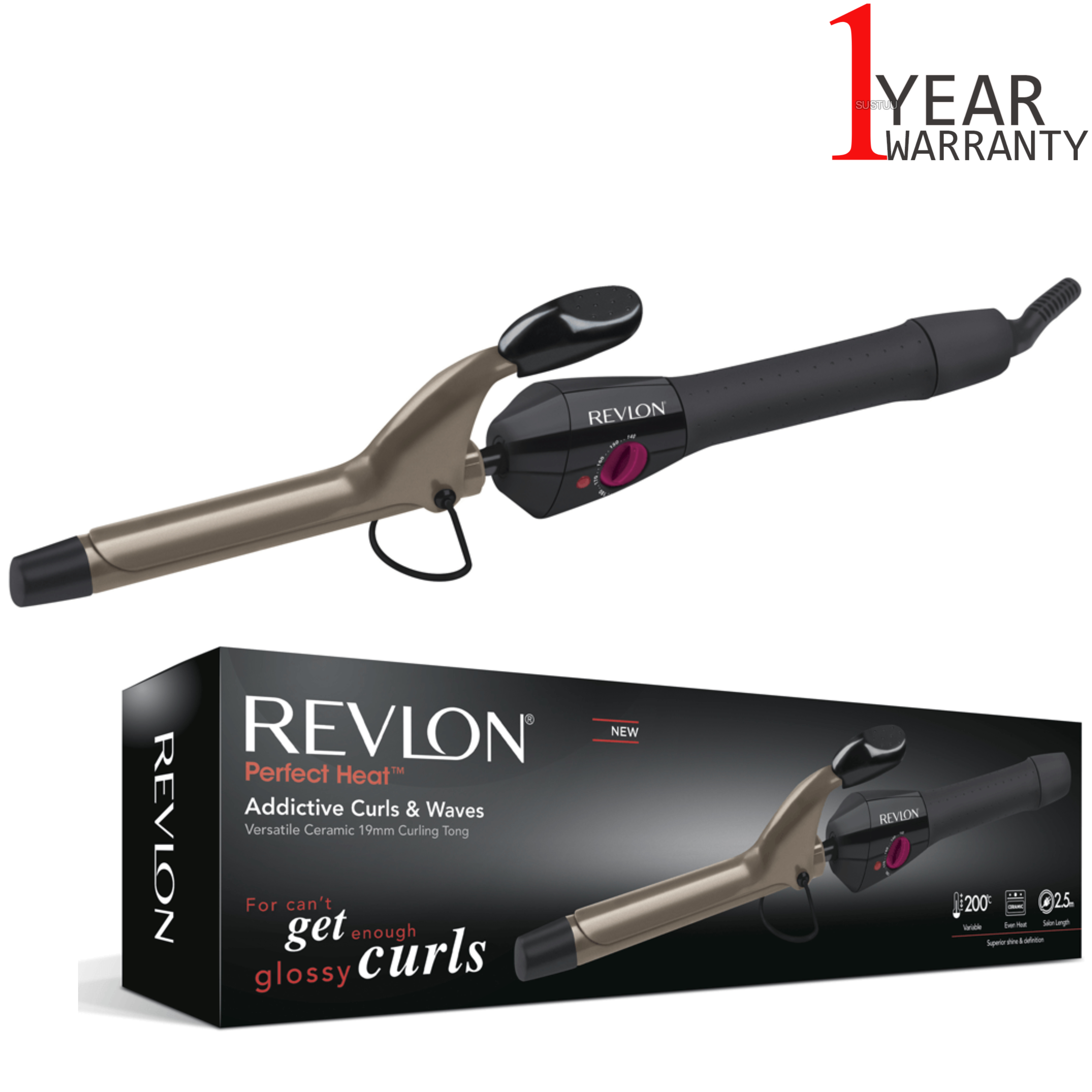 Revlon Perfect Heat Addictive Curls & Waves | 19mm Ceramic Curling Tong | 200°C | IR1409
