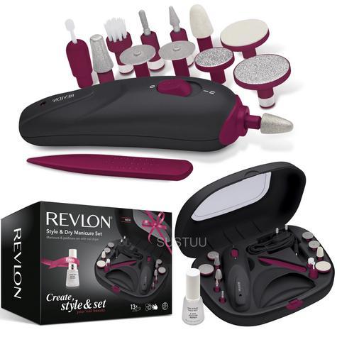 Revlon Style & Dry Manicure - Pedicure Set | Extra Top Coat + 13 Attachments | SP3529 Thumbnail 1