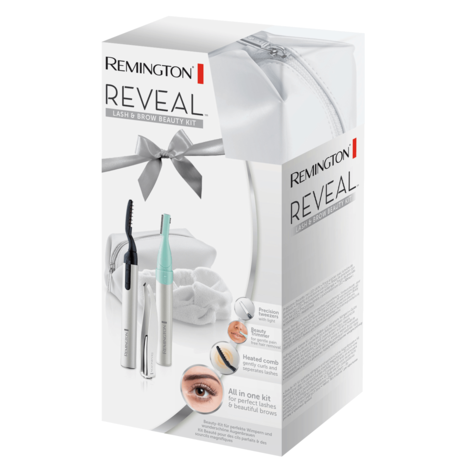 Remington Reveal Heated Lash Curler & Brow Kit | Beauty Trimmer + LED Tweezers | 3 in 1 Thumbnail 2