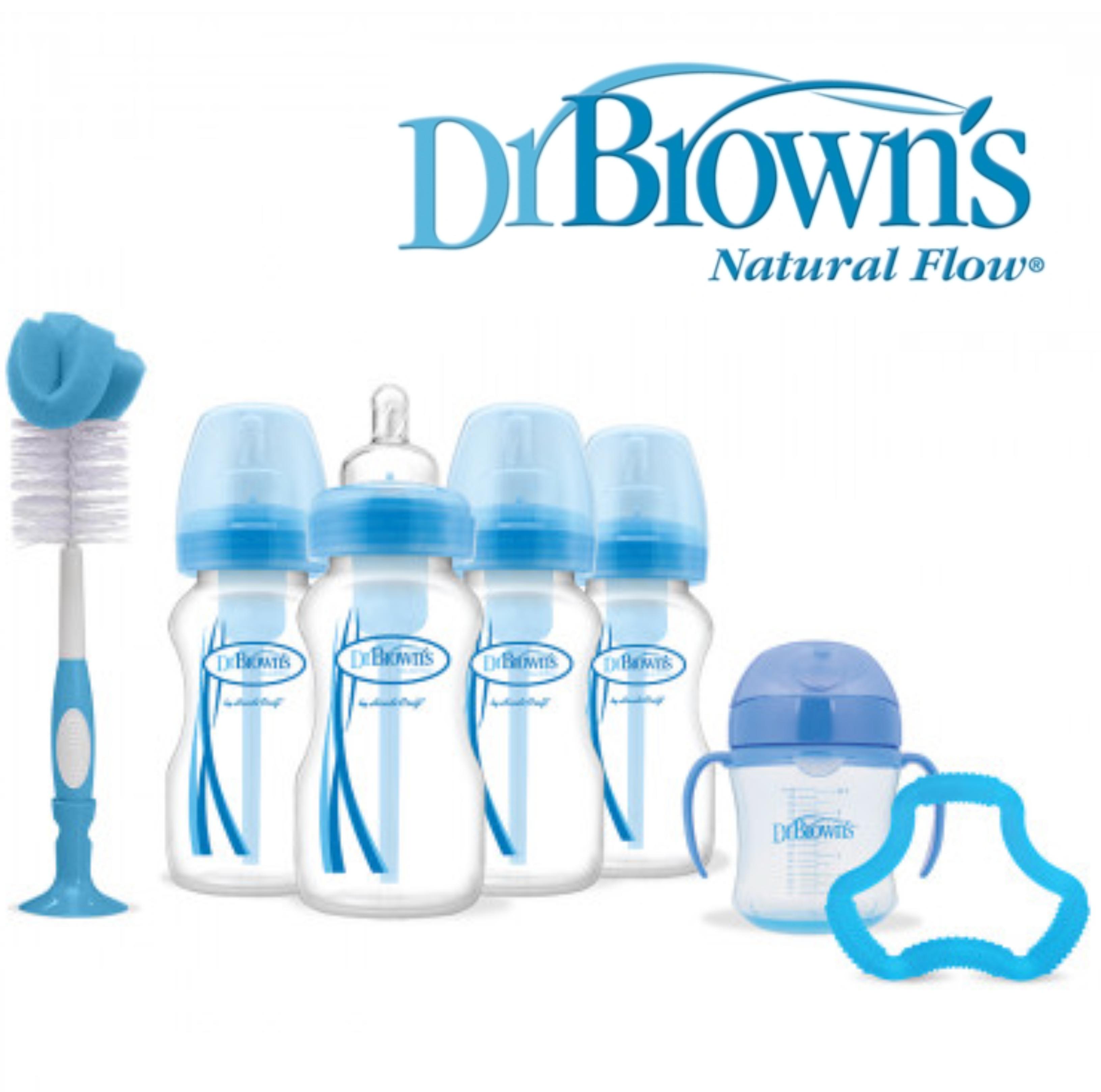 Dr Browns Baby Feeding 4 Bottle Gift Set|Wide Neck|Natural Flow Starter|BPA Free