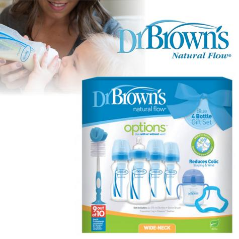 Dr Browns Baby Feeding 4 Bottle Gift Set|Wide Neck|Natural Flow Starter|BPA Free Thumbnail 2